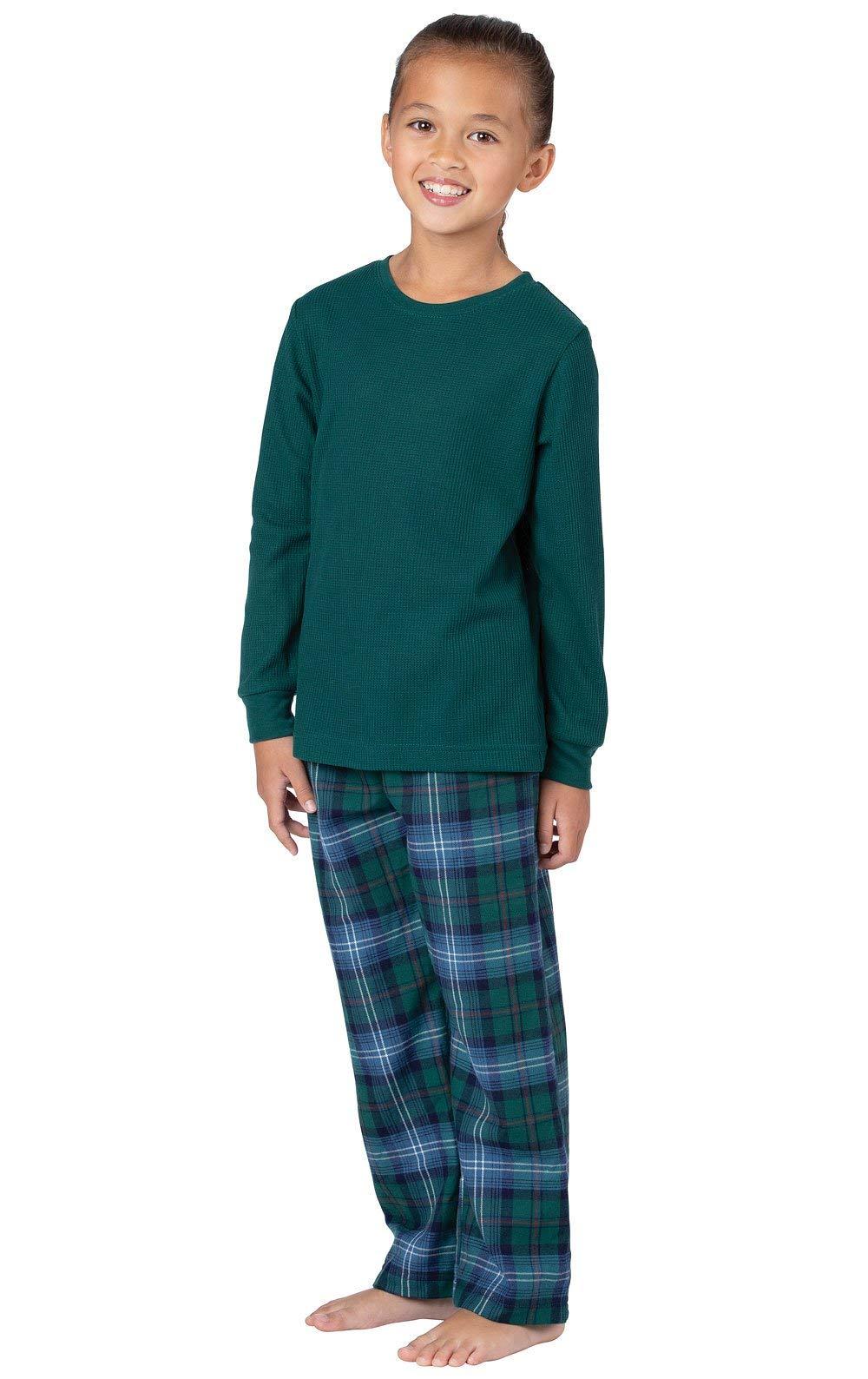 PajamaGram Heritage Plaid Thermal-Top Girls Pajamas 6