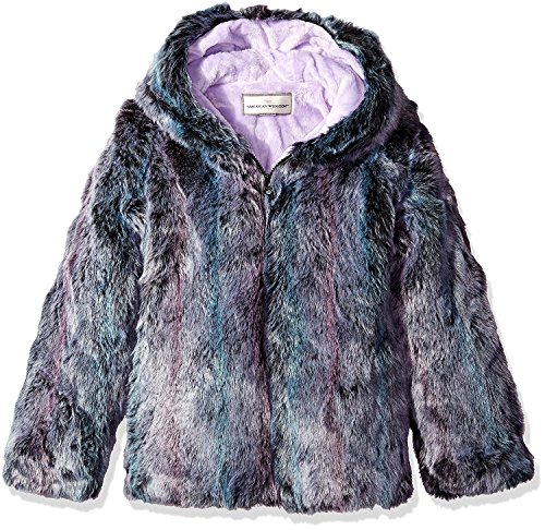 Mist Long Jacket - Widgeon Big Girls' Long Faux Fur Hooded Zip Front Jacket, Purple Mist, 7