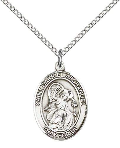 Sterling silver st gabriel the archangel pendant with 18 stainless sterling silver st gabriel the archangel pendant with 18quot stainless steel lite curb chain aloadofball Choice Image