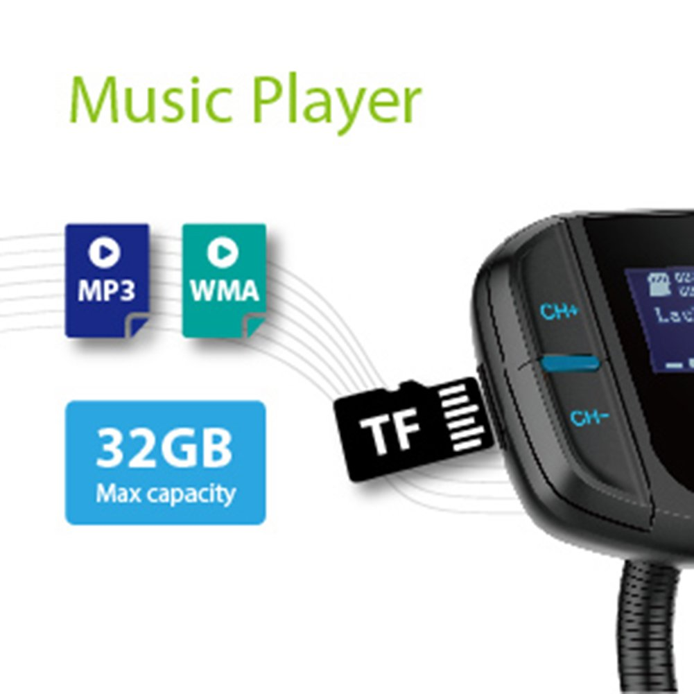 """Bluetooth FM Transmitter with Quick Charge 3.0, Wireless Car Radio Transmitter Kit with 1.7"""" LED Display, Dual USB Ports, compatible with iPhone, Samsung, etc, Hands Free Kit by Talent Star (Image #9)"""