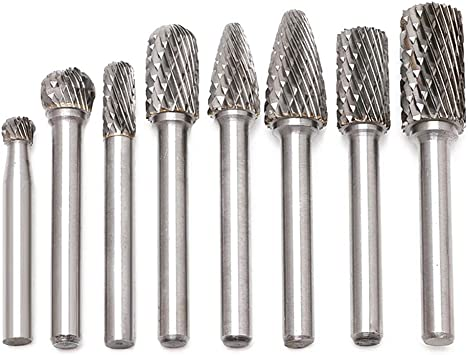 8pcs Drill Burr kit with 1//4 Polishing /& Drilling SPTA Tungsten Carbide Burr Metal Wood Carving 6mm Shank Double Cut Solid Carbide Rotary Burr Set for Die Grinder Drill Engraving