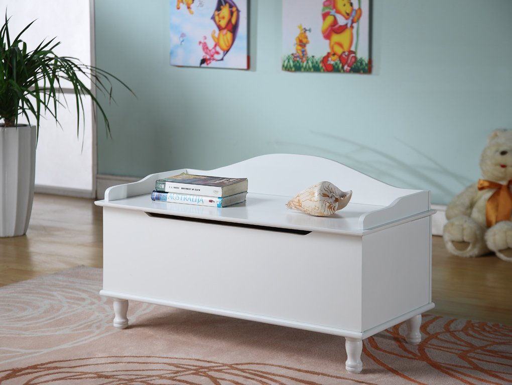 King Brand White Finish Wood Storage Bench Toy Box / Chest