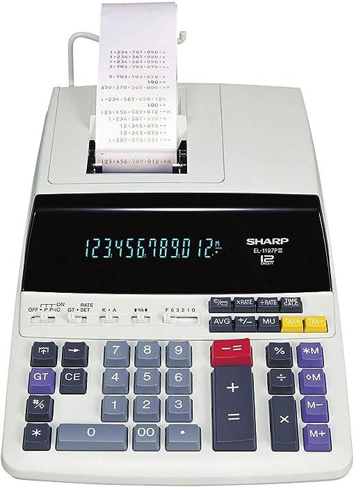 Sharp EL1197PIII Two-Color Printing Desktop Calculator Black/Red Print 4.5 Lines/Sec