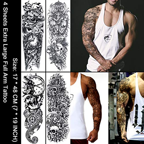 Oottati 4 Sheets Full Arm Extra large Fake Sleeves Removeable Temporary Tattoo Stickers Body Art Halloween Cross Skull Ghost Mechanical Arm Mask Goddness Snake Indian Totem Trible Rose For Adults (Skull For Snake)