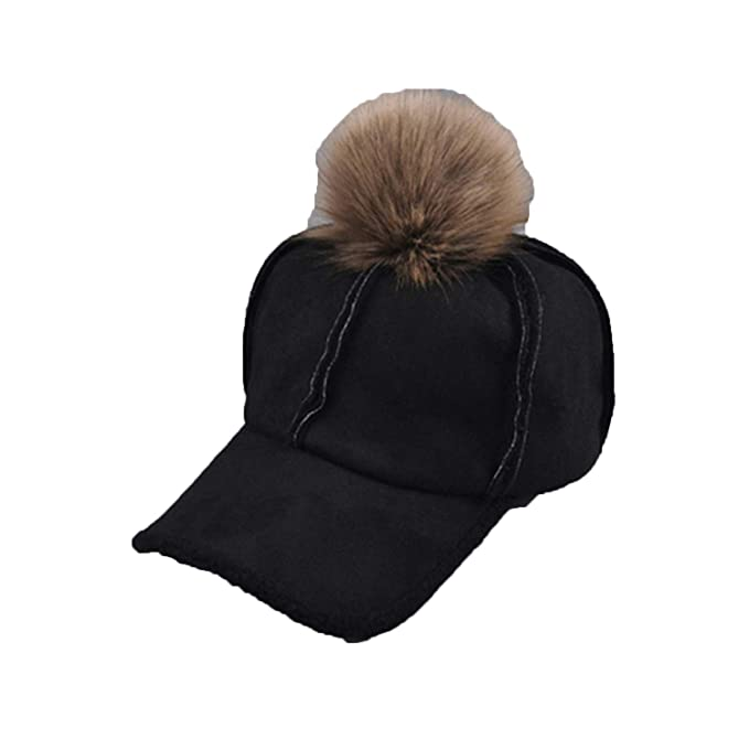 67428301662 Winter Baseball Sap Artificial Deerskin Lamb Hair Hat with Raccoon Ball Fur  Pom Pom for Men