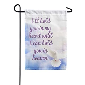 America Forever I'll Hold You in My Heart Garden Flag - In Loving Memory, Dove Religious Memorial Cemetery Bereavement 12.5 x 18 Inches Flag, Seasonal Yard Outdoor Decorative Double Sided Flag