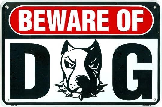 Amazon.com: Tenga cuidado con los perro Metal Sign, Pitbull ...