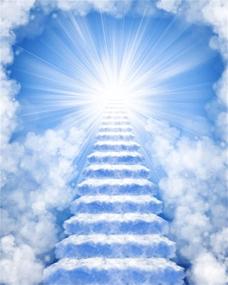 AOFOTO 8x10ft Stairway to Heaven Background Peaceful Sky Photography Backdrop Staircase of Paradise in Clouds Sun
