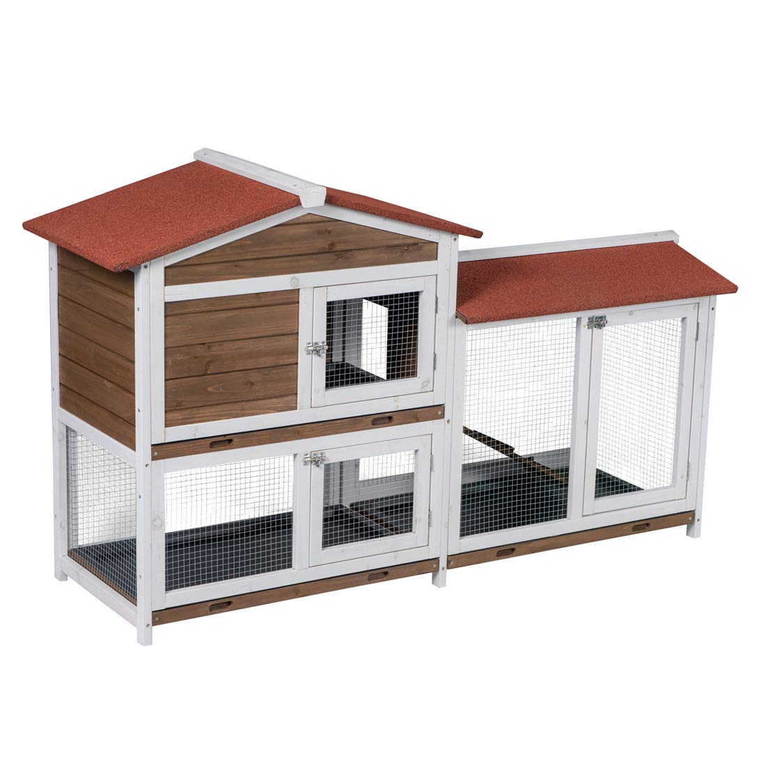 Good Life Two Floors Wooden Outdoor Indoor Roof Waterproof Bunny Hutch Rabbit Cage Guinea Pig Coop PET House for Small to Middle Animals with Stairs and 3 Cleaning Tray by GOOD LIFE USA (Image #2)