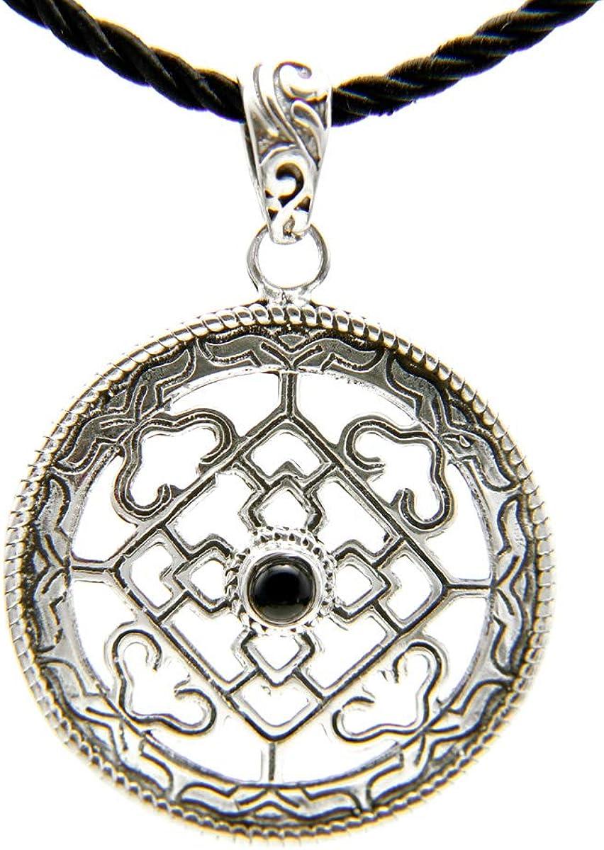 Agathe Creation N081121 - Colgante de mandala de plata 925 (sello) + cordón negro hecho a mano.