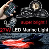 Kingshowstar 4pc Color Changing RGB Ip68 Water-Proof Marine Boat Drain Plug LED Light 4X 27w Underwater Lights Waterproof Boat Drain Plug Led Light for Fishing with Two Remote Music Controller synic