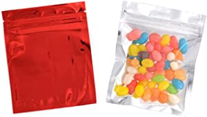 100PCS 4in x 5in Self Sealing Mylar Foil Flat Bag Sample Zipper Pouch Food Snack Storage Coffee Bean Candy Tea Powder Seal Grip Wrapper Gift Basket Supplies Xmas Gift Bag