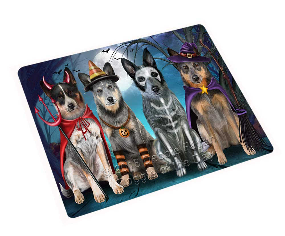 Doggie of the Day Happy Halloween Trick or Treat Blue Heeler Dog Blanket BLNKT89499 (60x80 Woven)