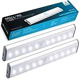 Neu Lane 10 LED Light Strip (Upgraded) - Ultra Bright Magnetic Light Bar w/ USB Rechargeable Battery & Motion Sensor Mode - Best Wireless Stick On Lighting for Under Cabinet, Counter & Closet (2 Pack)