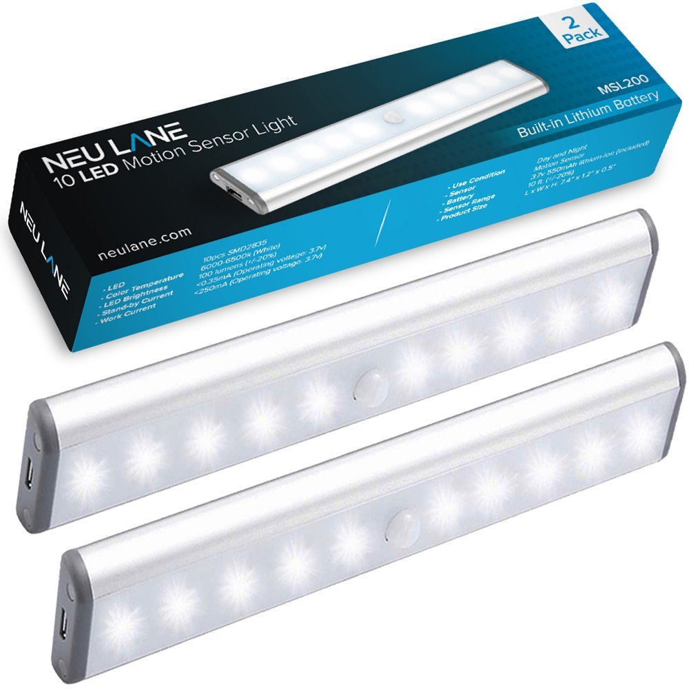 Neu Lane 10 LED Light Strip (Upgraded) - Ultra Bright Magnetic Light Bar w/ USB Rechargeable Battery & Motion Sensor Mode - Best Wireless Stick On Lighting for Under Cabinet, Counter & Closet (2 Pack)