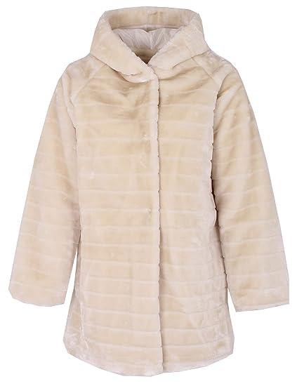 1fd8ae9d476 Gracious Girl New Ladies Italian Stripe-Cut Faux Fur Hooded Coat Women  Winter Coatigan Coat Jacket Plus Sizes  Amazon.co.uk  Clothing