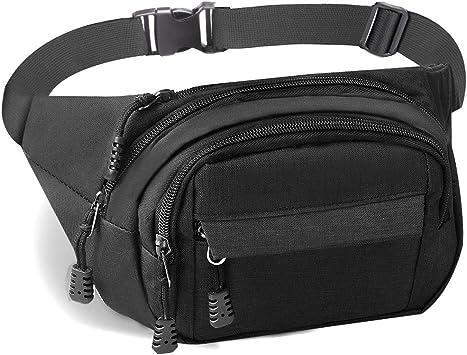 Gadom - Riñonera impermeable con 4 bolsillos con cremallera para correr, para hombres y mujeres, cinturón ajustable para exteriores, deportes, senderismo, viajes, negro: Amazon.es: Deportes y aire libre
