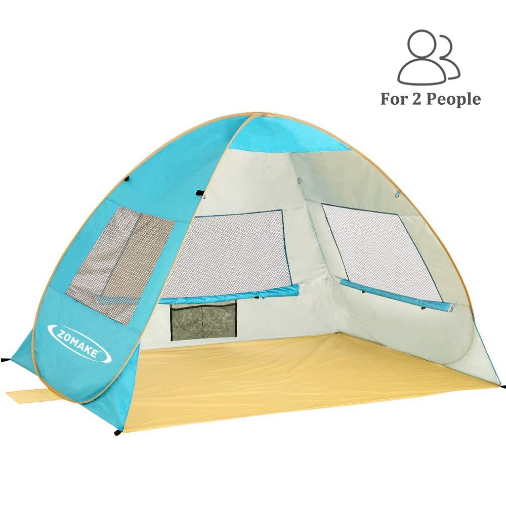 ZOMAKE ポップアップビーチテント 2-3人用 軽量 ポータブル サンシェルター サンシェード インスタントテント アウトドア カバナ UPF 50+ UV保護 赤ちゃんや家族に  レイクブルー B07MKTCRXW