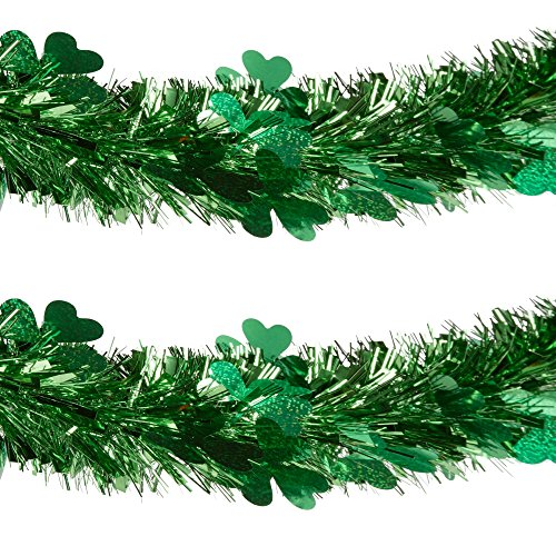 Young Craft St Patrick's Day Shamrock Die-Cut Tinsel Garland, 9-Feet (Green)