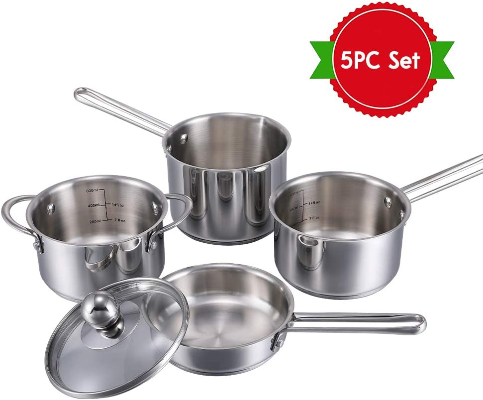 Mini Pots and Pans Set Toys,5-Pieces Stainless Steel Cookware Playset for Kids, Play Kitchen Toys for Toddlers & Children Ages 3 Years Old and Up,Dishwasher Applicable.
