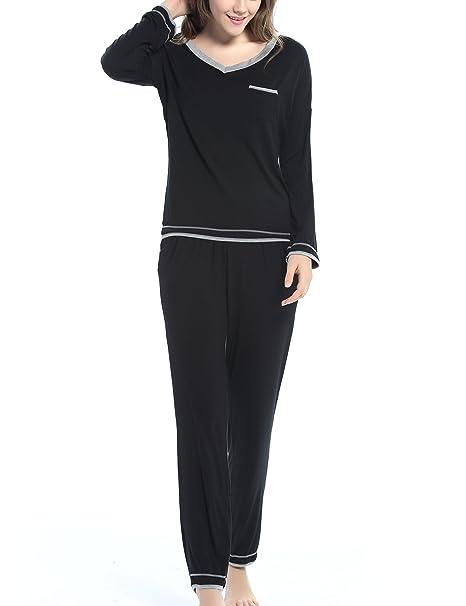 de792d19c Aoymay Women s Long Sleeve Sleepwear Knit Top with Pants Pajama Set(Black  ...