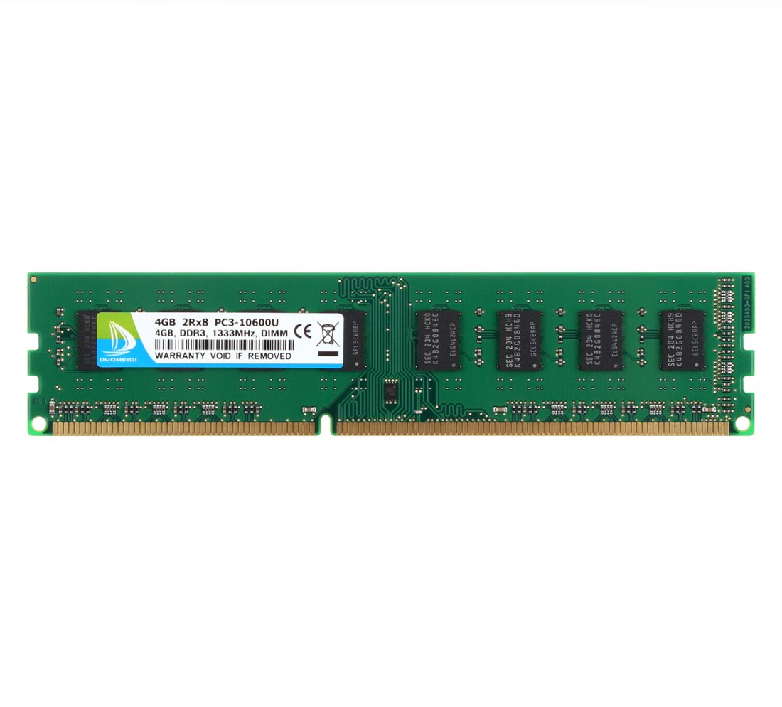 DUOMEIQI 4GB DDR3 1333MHz UDIMM 2RX8 PC3-10600 240pin CL9 Unbuffered Non-ECC 1.5v Desktop RAM Memory Module for Intel AMD System