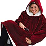 Hyper Huggle Hoodie Ultra Plüsch-Decke, Kapuze, Große Tasche, Reversibel - Warm Und Luxuriös Männer Frauen Winter Warme Kapuzen-Mäntel
