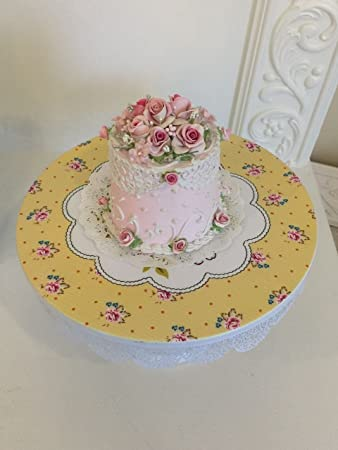 Sensational Shabby Chic White And Yellow 9 5 Inch Metal Cake Stand Shabby Personalised Birthday Cards Cominlily Jamesorg