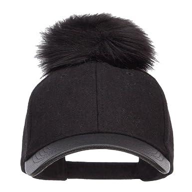 9592bafefe7 Hatiya Pom Pom Wool Blend PU Cap - Black Black OSFM at Amazon Women s  Clothing store