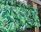 Tropical Island Green Leaf Print Banana Palm Leaves White Handmade Valance NEW For Sale