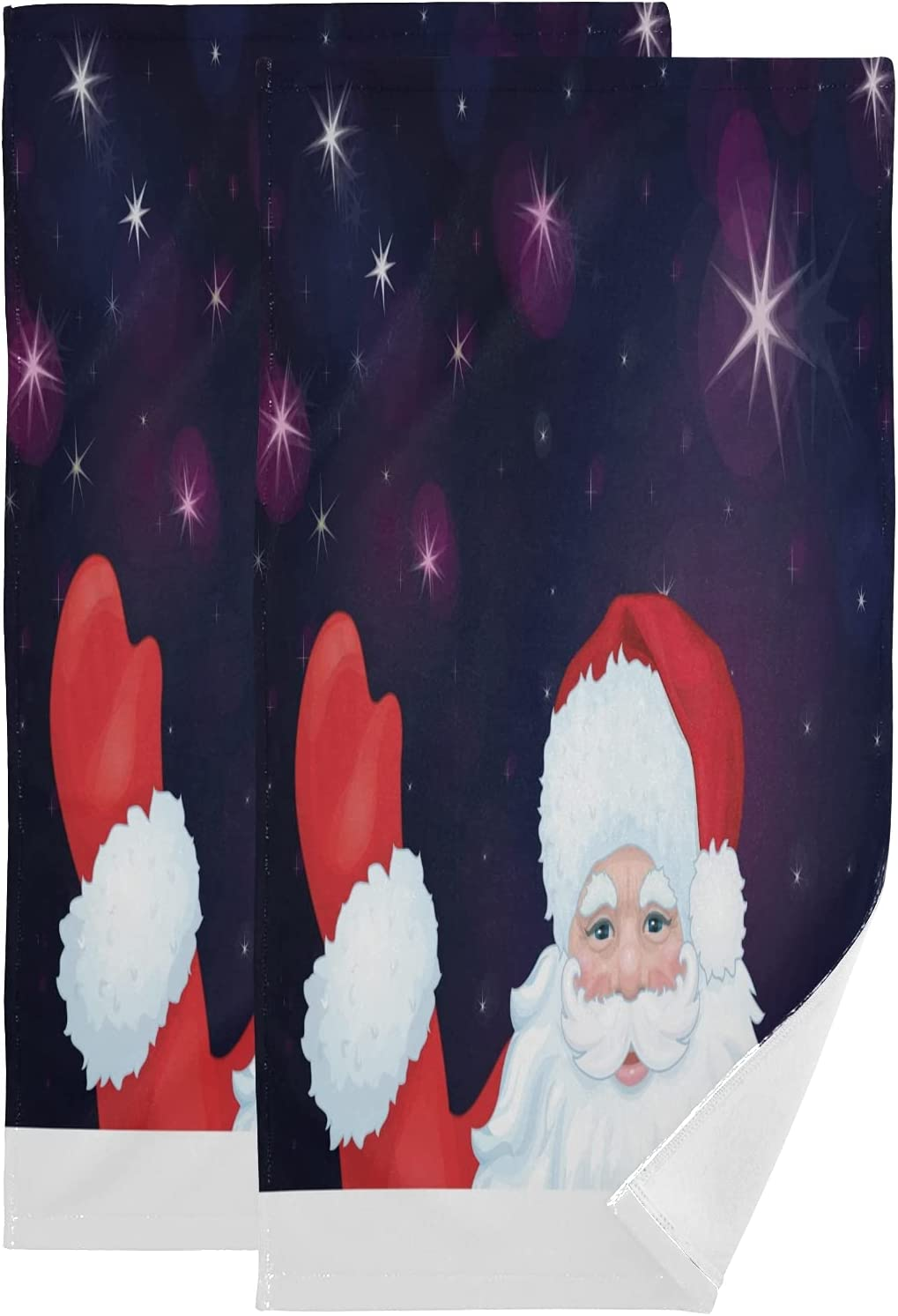 OcuteO Bathroom Hand Towels Set 2 Pack Cute Funny Christmas Santa Claus Purple Star Bath Hand Towels Decorative,Face Towels For Women Dish Towels Washcloths For Home Kitchen Spa Gym Swim Hotel Use 28i