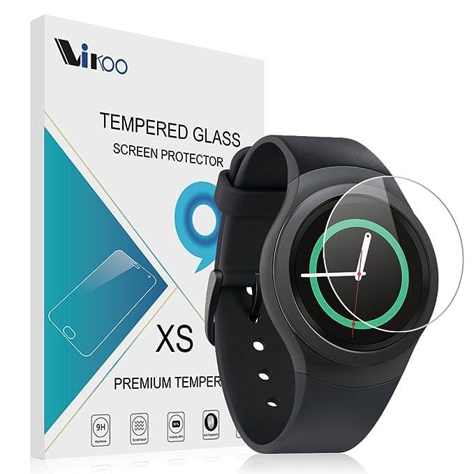Samsung Gear S2 Smartwatch Cristal Templado,Vikoo 9H 2.5D 0.26m Ultra Delgado Shatterproof Protector de pantalla de Vidrio Templado HD Flim para ...