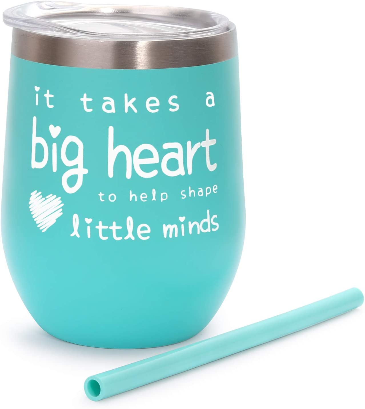 Teacher Appreciation Gifts - Teacher Gifts For Women Wine Glass Tumbler - It Takes a Big Heart to Help Shape Little Minds - 12oz Double Wall Vacuum Cup w Lid&Straw - Teacher Gifts from Student - Mint