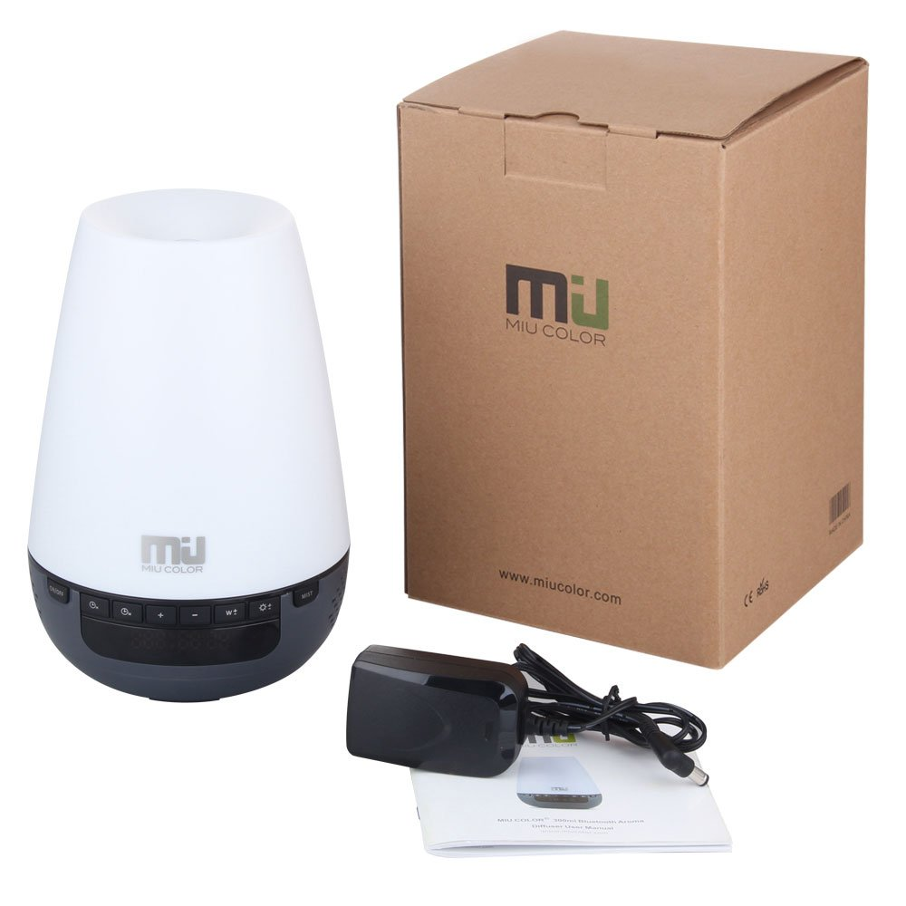 MIU COLOR Essential Oil Diffuser Humidifier - Digital Clock with 6 LED Changing Light - Ultrasonic Aromatherapy Humidifier - 300 ml - 4 Timer Settings - Waterless Auto Off Function
