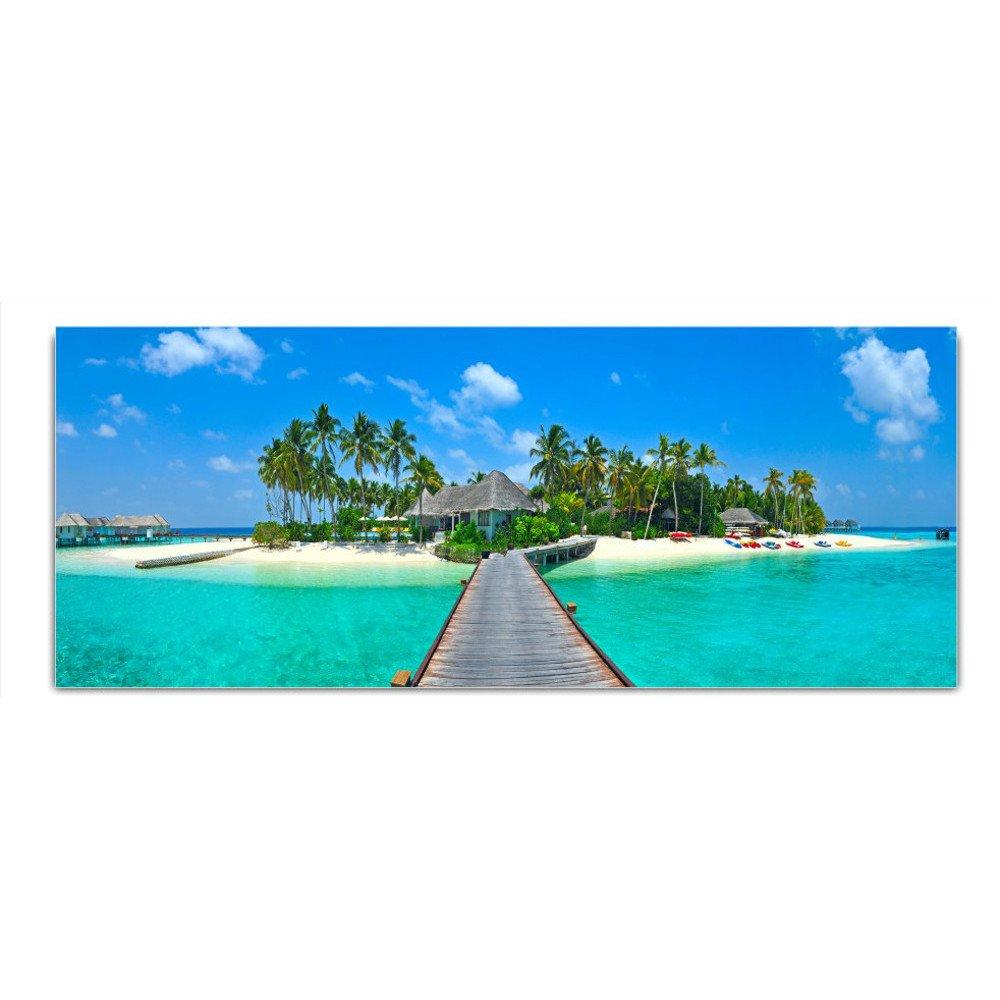 DekoGlas Glasbild 'Strand Palmen Brücke Meer' Echtglas Bild Küche, Wandbild Flur Bilder Wohnzimmer Wanddeko, einteilig 125x50 cm