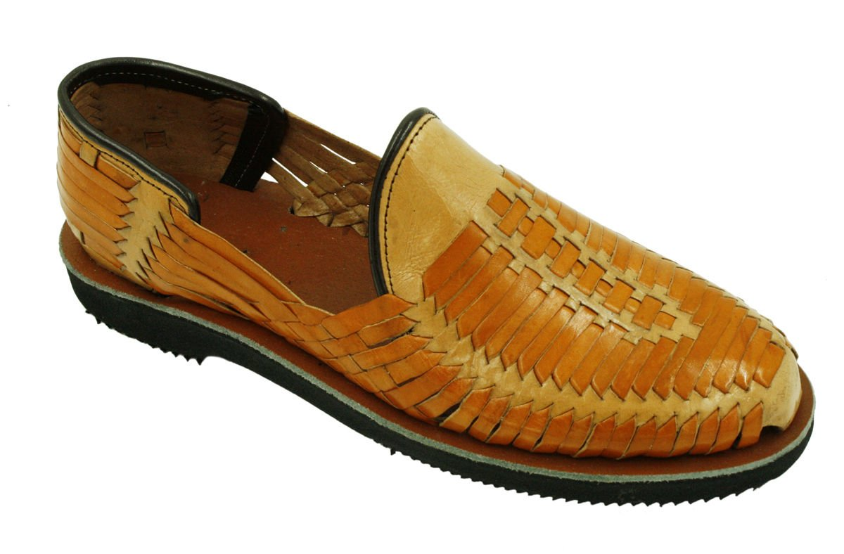 Men Genuine Authentic Leather Closed Toe Mexican huarches Sandal Tan-Beige_9