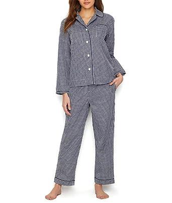b25a02cf3a06 Sleepy Jones Women s Large Gingham Bishop Pajama Set at Amazon Women s  Clothing store