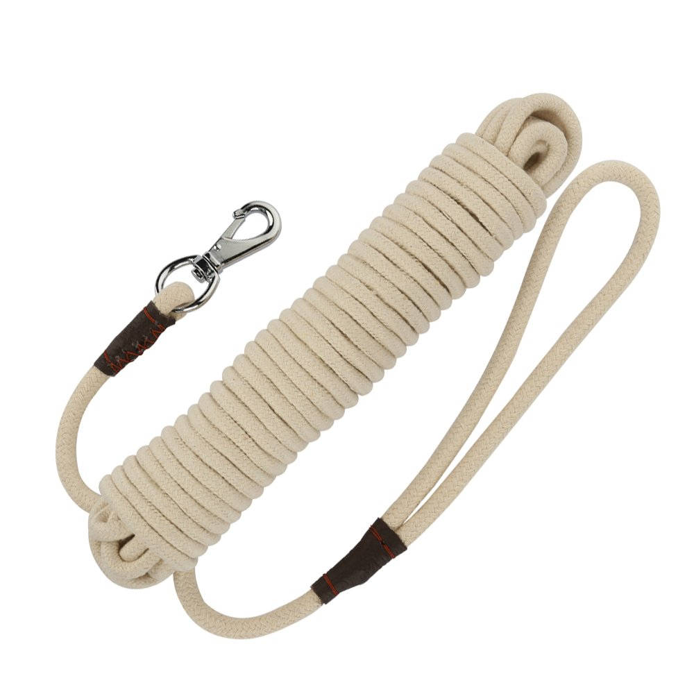 PepPet 65 Ft Extra Heavy Duty Cotton Rope Dog Training Leash for Large/Medium/Small Dogs Training/Walking (65Ft, Beige)