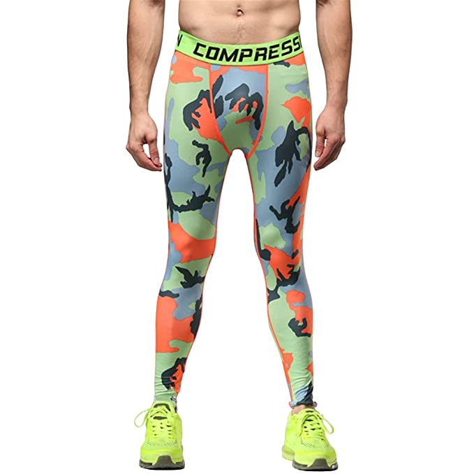 11e8b5b8bdddd 1Bests Mens Camo Running Fitness Workout Quick Dry Breathable Compression  Pants Tights Leggings (Orange,