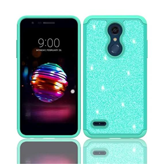 for LG CV3, LG K30, LG LM-X410, LG Premier Pro LTE L413DL, LG K10 (2018),  LG MS425 Glitter Hybrid case Plus Tempered Glass Screen Protector (Teal)