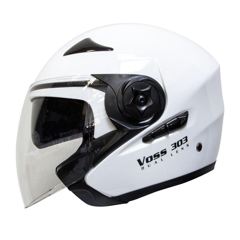 Amazon.com: Voss 303 Dual Lens Cruiser DOT Three Quarter Helmet with Integrated Sun Lens and Quick Release System - M - Gloss White: Automotive