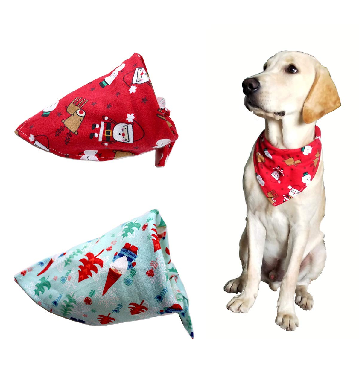 2pcs Pet Dog Christmas Bandanas Cotton Soft Snowman Gift Dog Triangle Fit for Middle and Large dogs Yagopet BA008-10