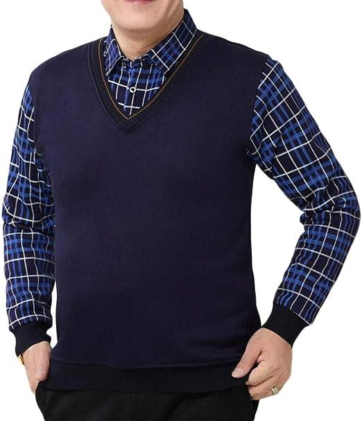 DAFREW Chaleco/Camisa de los Hombres, Traje de Dos Piezas Falsa suéter del suéter del Negocio de la Solapa Caliente y cómodo otoño e Invierno (Color : Azul, Tamaño : L): Amazon.es: Jardín