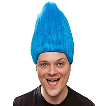 NET TOYS Colorida Peluca de Troll para Adultos | Azul | Ostentoso Accesorio para Disfraces de