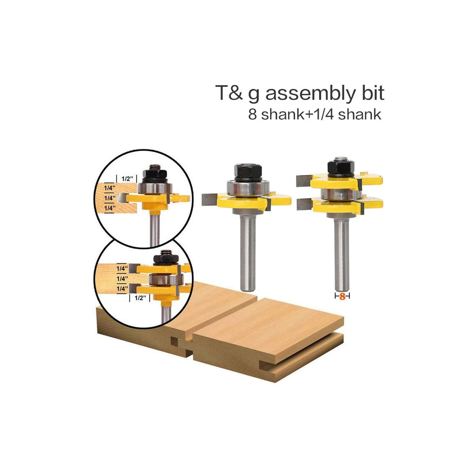 2 Pc 8mm Shank Tongue /& Groove Joint Assembly Router Bit Set 3//4 Stock Wood Cutting Tool,As Picture