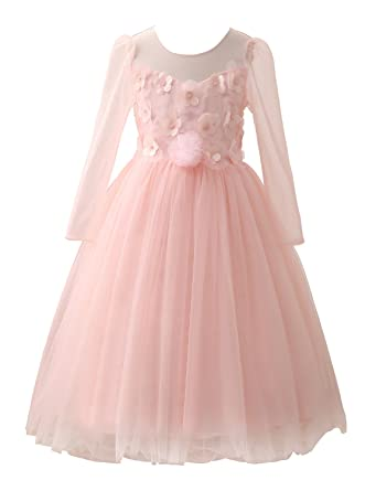 Amazon Castle Fairy Flower Girl Dresses Long Sleeves Blush Pink