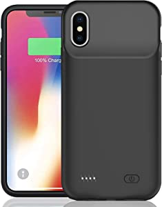 Battery Case for iPhone X/XS, Enhanced 7000mAh Smart Rechargeable Portable Protective Charging Case Extended Battery Backup Pack Compatible with iPhone X/XS (5.8 inch) Charger Case (Black)