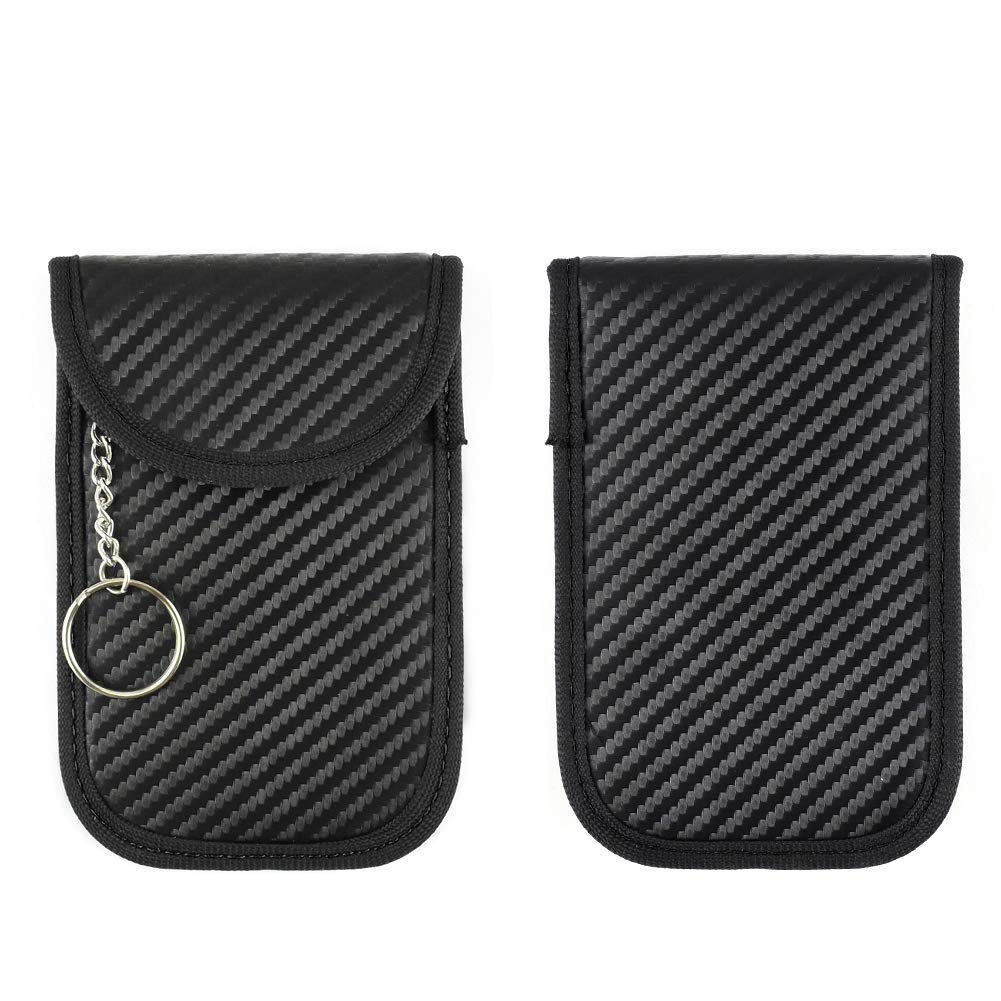 Sac Faraday RFID Newseego 2 cas de bloqueur de signal de cl/é de voiture Pochette bloquant le signal Premium Faraday Keyless Entry Anti-Pochette de vol-porte-cl/és Et manches de cartes Noir +Rouge