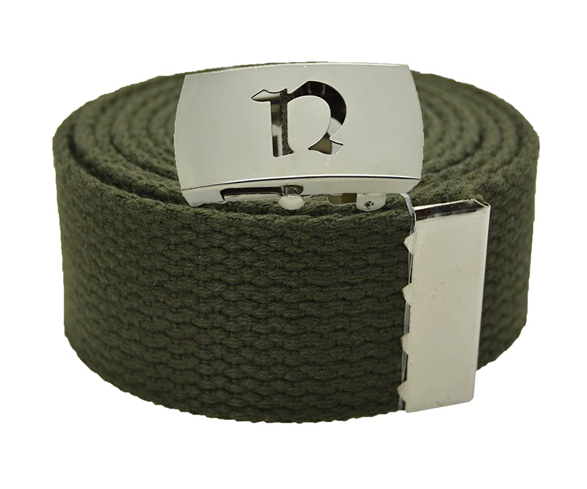 Canvas Military Web Belt /& BIG N Silver Buckle 48 54 60 or 72 Inches 25 Colors
