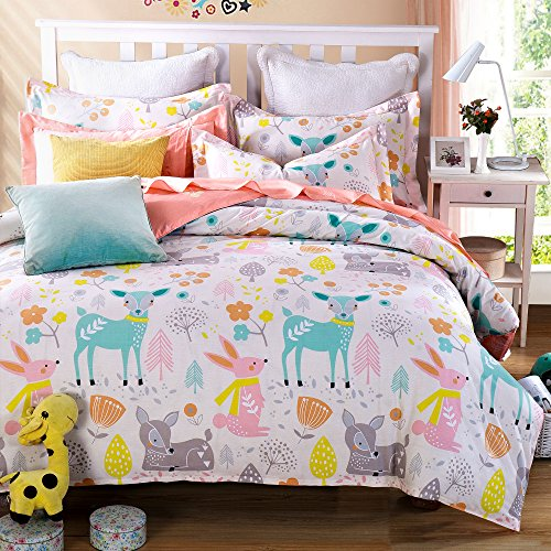 Cliab Woodland Animal Friends Deer Rabbit Flower Bedding Pink Green Orange Yellow Girls Teen kids Full Duvet Cover Set 100% Cotton 7 Pieces by Cliab
